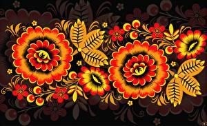Фотография Текстура Русские Khokhloma цветок