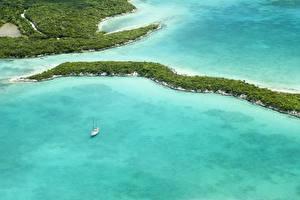 Фото Тропический Леса Море Залив Сверху Bahamas Природа
