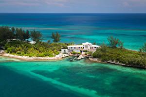 Фотографии Тропический Курорты Побережье Дома Причалы Nassau Bahamas Природа