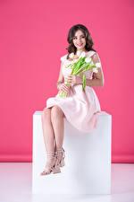 Фото Тюльпаны Шатенка Улыбка Платье Сидящие Девушки