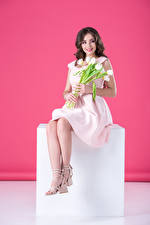 Фото Тюльпан Шатенка Улыбка Платья Сидящие