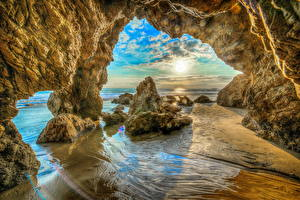 Фото Штаты Побережье Калифорния Скала HDR Malibu Beach Природа