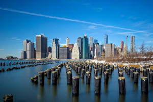 Картинка Америка Здания Речка Нью-Йорк Города