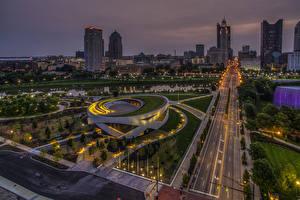 Фото Штаты Здания Дороги Вечер Columbus Ohio Города