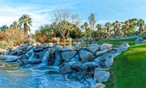 Обои Штаты Парки Водопады Камень Калифорния Palm Desert Природа