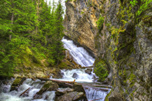 Фото Штаты Водопады Вашингтон Утес Деревья HDRI Granite Falls Spokane Природа