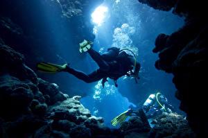 Фотография Дайвинг Вода Пещера Униформа Спорт