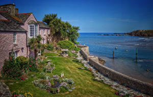 Картинка Великобритания Здания Берег Залив Кусты Bude Cornwall Города