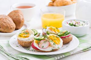 Картинки Овощи Завтрак Тарелка Яйца Еда