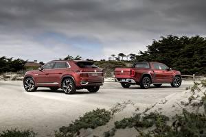 Фото Volkswagen Красные Пикап кузов Внедорожник 2018 Atlas Tanoak Concept, Atlas Cross Sport Автомобили