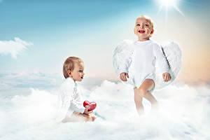 Картинки Ангелы Младенца Вдвоем Улыбается Крылья Сердечко