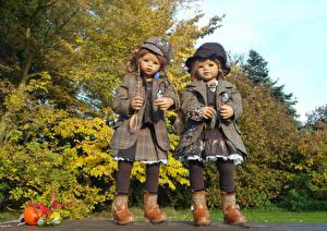 Картинка Осенние Кукла Двое Девочки Grugapark Essen