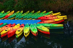 Обои Лодки Много Canoe