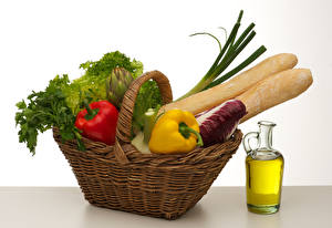 Картинка Хлеб Овощи Перец Корзина Бутылка Продукты питания