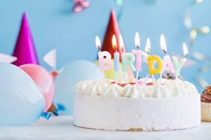 Картинка Торты Свечи День рождения Огонь Еда