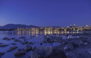 Фотографии Канада Здания Вечер Камень Ванкувер Заливы город