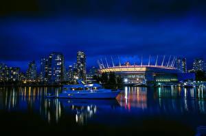 Фотография Канада Здания Речка Пирсы Катера Вечер Ванкувер Города
