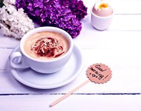Фотография Кофе Капучино Чашка Блюдце Good Morning Еда