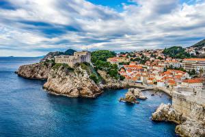 Картинка Хорватия Побережье Здания Замки Скала Dubrovnik Города