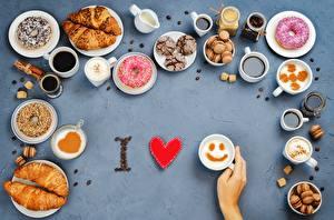 Картинки Круассан Любовь Пончики Чашке Еда