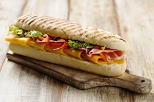 Фотографии Быстрое питание Сэндвич Булочки Разделочной доске