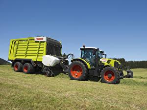 Обои Поля Сельскохозяйственная техника Трактор 2014-17 Claas Arion 460 Природа картинки