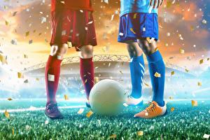 Фотографии Футбол Мяч Ноги Гольфы Спорт