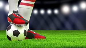 Картинка Футбол Крупным планом Газон Мяч Кроссовки Спорт