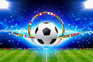 Фото Футбол Газон Мяч Флаг Спорт