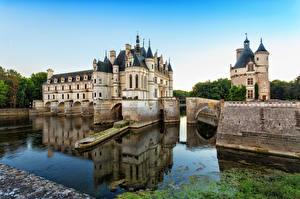 Картинка Франция Замки Мосты Водный канал castle Chenonceau