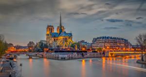 Фото Франция Здания Реки Вечер Мосты Париж HDRI Notre Dame