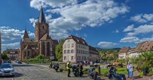 Обои Франция Дома Храмы Церковь Улица Weissenburg Alsace Города
