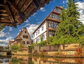 Обои Франция Здания Водный канал Ель Weissenburg Alsace