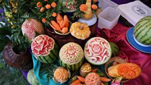 Фотография Фрукты Овощи Арбузы Розы Дизайн