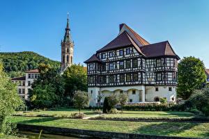 Картинки Германия Дома Ландшафтный дизайн Дерево Bad Urach