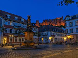 Фотография Германия Дома Памятники Вечер Улица Уличные фонари Heidelberg