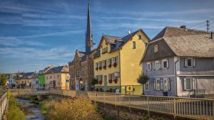 Картинки Германия Здания Реки Мосты Забор Miehlen Города