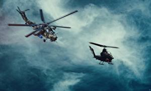 Фотографии Вертолет Русские Американский MI-28, Havoc Bell AH-1 Cobra Авиация