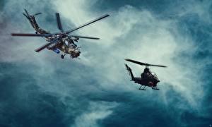 Фотографии Вертолет Русские Американский MI-28, Havoc Bell AH-1 Cobra