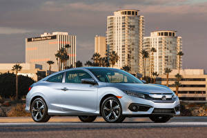 Картинки Honda Серебристый 2016-18 Civic Coupe Машины