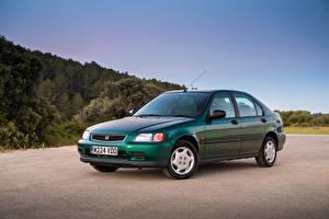 Картинки Honda Винтаж Зеленый Металлик 1995-97 Civic Fastback Автомобили