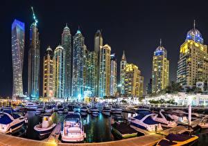 Фото Дома Небоскребы Причалы Дубай Объединённые Арабские Эмираты Ночные