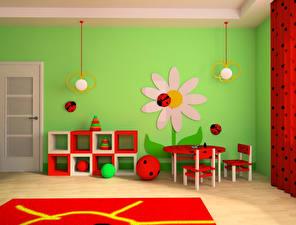 Картинка Интерьер Детская комната Дизайн Стол Стулья Мяч 3D Графика