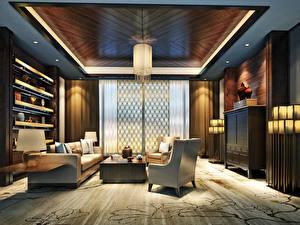 Картинка Интерьер Дизайн Гостевая Диван Кресло Потолок 3D Графика