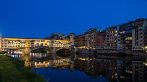 Фотография Италия Флоренция Дома Реки Мосты Вечер Города