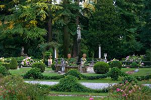 Обои Италия Парки Скульптуры Дизайн Кусты Деревья Parco Romagna Природа