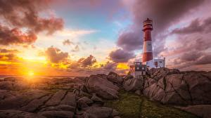 Картинка Маяки Рассветы и закаты Небо Камни HDR Природа