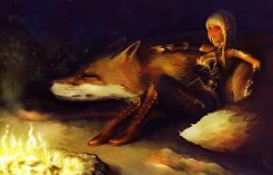 Обои Волшебные животные Эльфы Костром Сидящие Блондинка Сапоги Ночь Фантастика Девушки