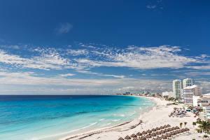 Фотография Мексика Дома Побережье Море Небо Пляж Cancun beach