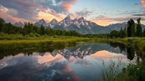 Фотографии Горы Пейзаж Озеро США Парки Grand Teton